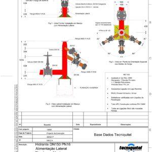 Hidrante DN150 PN16 Alimentação Lateral Fixado em Maciço