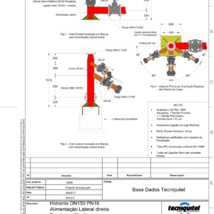 Hidrante DN150 PN16 Alimentação Lateral direita Fixado em Maciço